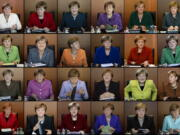 In this combo from file photos taken between 2009 and 2016, German Chancellor Angela Merkel is shown wearing her iconic blazers in different colors, as she leads the weekly cabinet meeting at the chancellery in Berlin.
