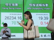People wearing face masks walk past a bank's electronic board showing the Hong Kong share index in Hong Kong, Tuesday, Sept. 7, 2021. Asian stock markets rose Tuesday as investors watched for decisions from Europe and other central banks about when they might start to wind down economic stimulus.