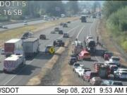 A crash on Interstate 5 south has traffic backed up near the exit for ilani.
