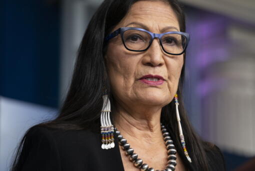 FILE - In this April 23, 2021, file photo, Interior Secretary Deb Haaland speaks during a news briefing at the White House in Washington. U.S. Interior Secretary Deb Haaland is a married woman. Melissa Schwartz, an Interior Department spokeswoman, confirmed Haaland and longtime partner Skip Sayre wed Saturday, Aug.