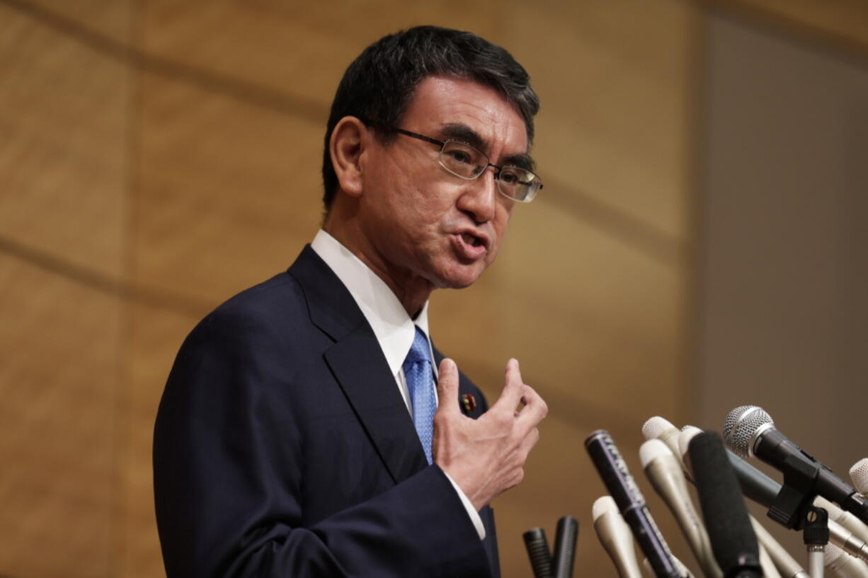 Taro Kono, the Cabinet minister in charge of vaccinations, speaks during a news conference as he formally announces he's running for the leader of the Liberal Democratic Party in Tokyo, Friday, Sept. 10, 2021. The Liberal Democrats and their coalition partner have a majority in parliament, meaning whoever wins the Sept. 29 party vote is virtually guaranteed to become the new prime minister. Current Prime Minister Yoshihide Suga has said he won't run for the leadership of the governing party.
