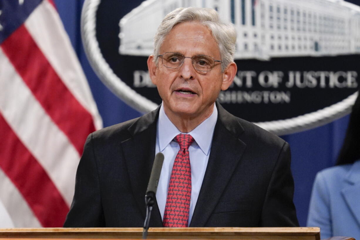 Attorney General Merrick Garland announces a lawsuit to block the enforcement of new Texas law that bans most abortions at the Justice Department in Washington, Thursday, Sept. 9, 2021. (AP Photo/J.