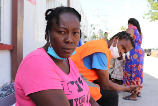 Violene Marseille, 36, from Haiti, poses for a portrait in Monterrey, Mexico, Thursday, Sept. 23, 2021, after traveling from Chile where she and her family have lived for years. Marseille, her husband and two children were on a bus north through central Mexico when they received messages warning that their destination on the U.S.-Mexico border was no longer a safe place to cross.