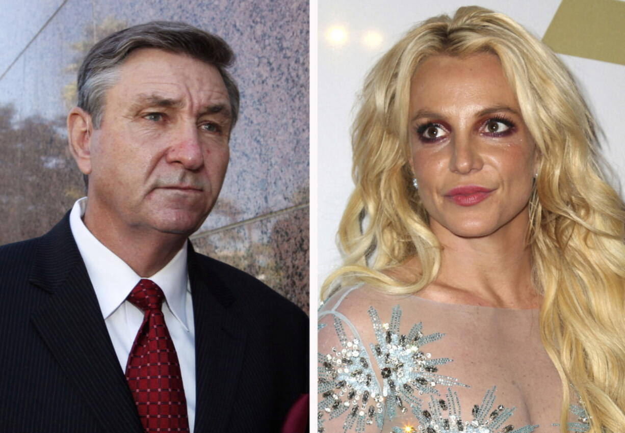 FILE - This combination photo shows Jamie Spears, left, father of Britney Spears, as he leaves the Stanley Mosk Courthouse on Oct. 24, 2012, in Los Angeles and Britney Spears at the Clive Davis and The Recording Academy Pre-Grammy Gala on Feb. 11, 2017, in Beverly Hills, Calif. Britney Spears' father has filed to end the court conservatorship that has controlled the singer's life and money for 13 years. James Spears filed his petition to end the conservatorship in Los Angeles Superior Court on Tuesday, Sept. 7, 2021.