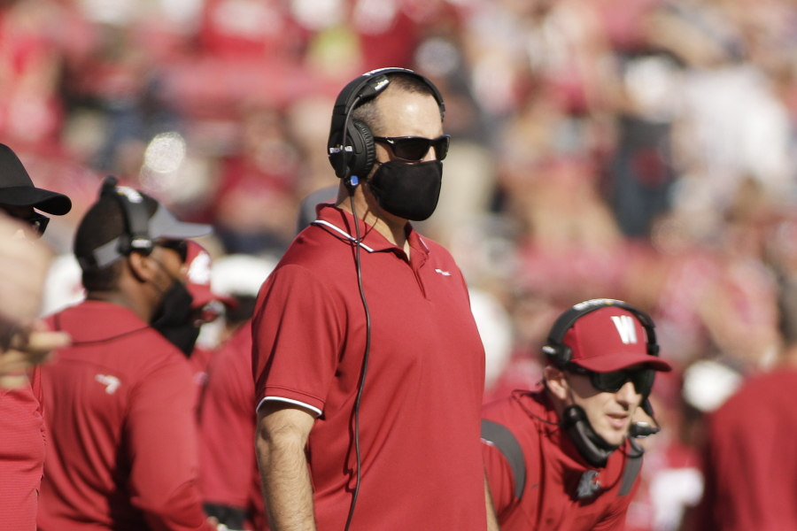 Washington State head coach Nick Rolovich looks on during the first half of an NCAA college football game against Portland State, Saturday, Sept. 11, 2021, in Pullman, Wash.