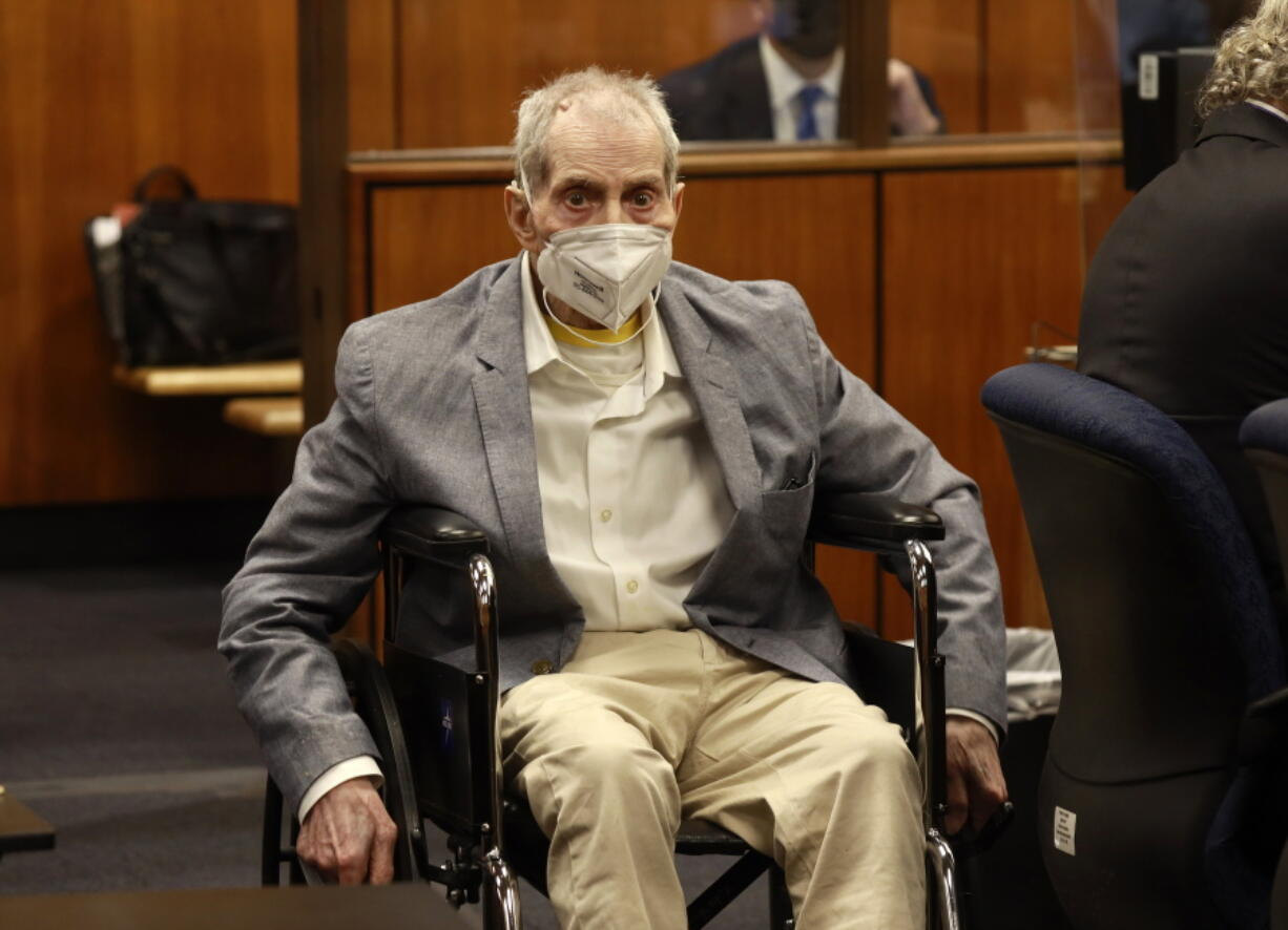 Robert Durst in his wheelchair spins in place as he looks at people in the courtroom as he appears in a courtroom in Inglewood, Calif. on Wednesday, Sept. 8, 2021, with his attorneys for closing arguments presented by the prosecution in the murder trial of the New York real estate scion who is charged with the longtime friend Susan Berman's killing in Benedict Canyon just before Christmas Eve 2000.
