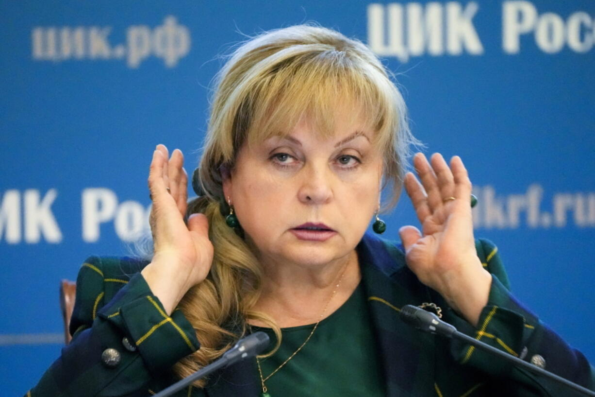 Ella Pamfilova, head of Russian Central Election Commission, gestures while speaking after the Parliamentary elections at the Russian Central Election commission in Moscow, Russia, Friday, Sept. 24, 2021. Politicians and activists who lost to Kremlin-backed candidates in Russia's parliamentary election last weekend have formed a coalition to contest the results from online voting in Moscow, which they believe was rigged and blame for their defeat.