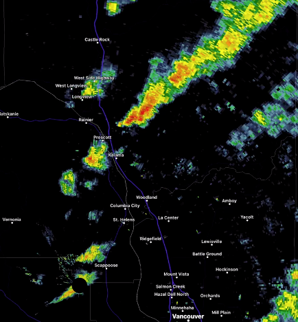 The National Weather Service in Portland tracked a storm over the north part of Clark County and into Cowlitz. Multiple people reported seeing a funnel cloud near Battle Ground.