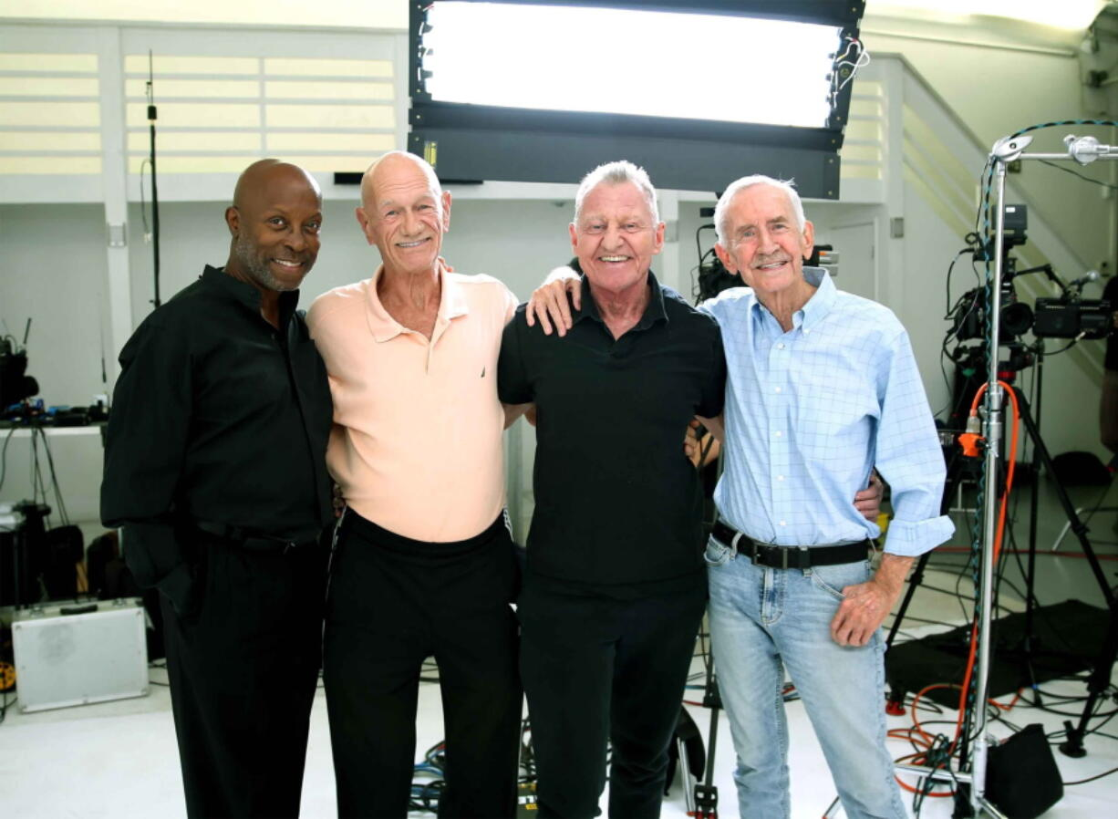 Jessay Martin, 68, from left, Robert Reeves, 78, Michael Peterson, 65, and William Lyons, 77, in Cathedral City, Calif., in November 2020. The four friends, known as the Old Gays, are among a growing number of seniors making names for themselves on social media.