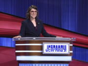 """Mayim Bialik hosts the game show """"Jeopardy!"""" on Aug. 24."""
