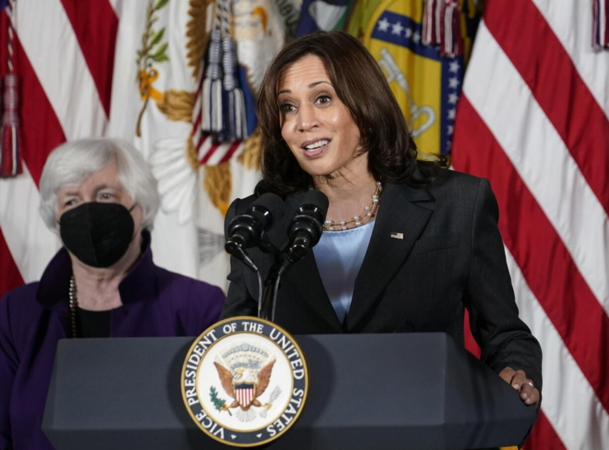 """FILE - Vice President Kamala Harris, right, speaks as Treasury Secretary Janet Yellen listens during an event at the Treasury Department in Washington on Sept. 15, 2021. Harris will appear on the daytime talk series """"The View"""" on Friday."""