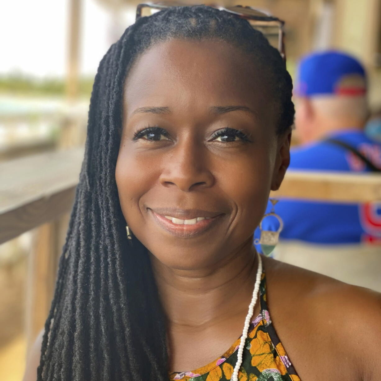 """This 2021 selfie photo shows Monifa Bandele. Bandele, who has taken interim leadership of Time's Up, says the organization is undergoing a structural review and will emerge with a new openness and a focus on """"people power,"""" with leadership that includes farm, restaurant and domestic workers."""