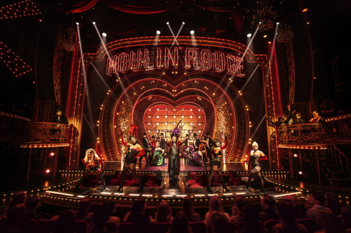 """This image released by Boneau/Bryan-Brown shows the cast in """"Moulin Rouge!"""