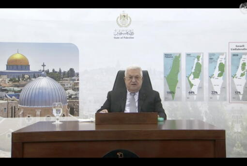 In this photo taken from video, Palestinian President Mahmoud Abbas remotely addresses the 76th session of the United Nations General Assembly in a pre-recorded message, Friday, Sept. 24, 2021, at UN headquarters.