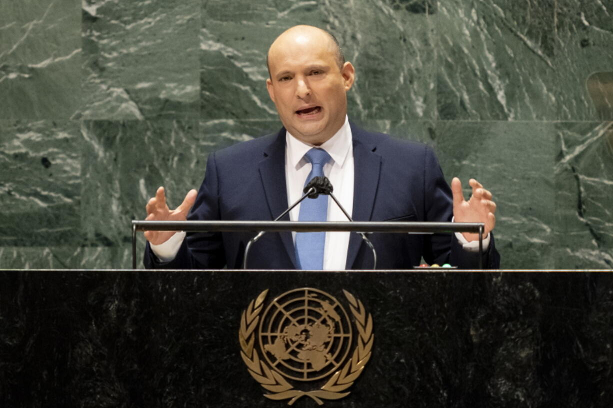 Israel's prime minister Naftali Bennett addresses the 76th Session of the United Nations General Assembly, Monday, Sept. 27, 2021, at U.N. headquarters.