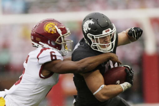 Washington State running back Max Borghi, right, carries the ball while pressured by Southern California cornerback Isaac Taylor-Stuart during the first half of an NCAA college football game, Saturday, Sept. 18, 2021, in Pullman, Wash.