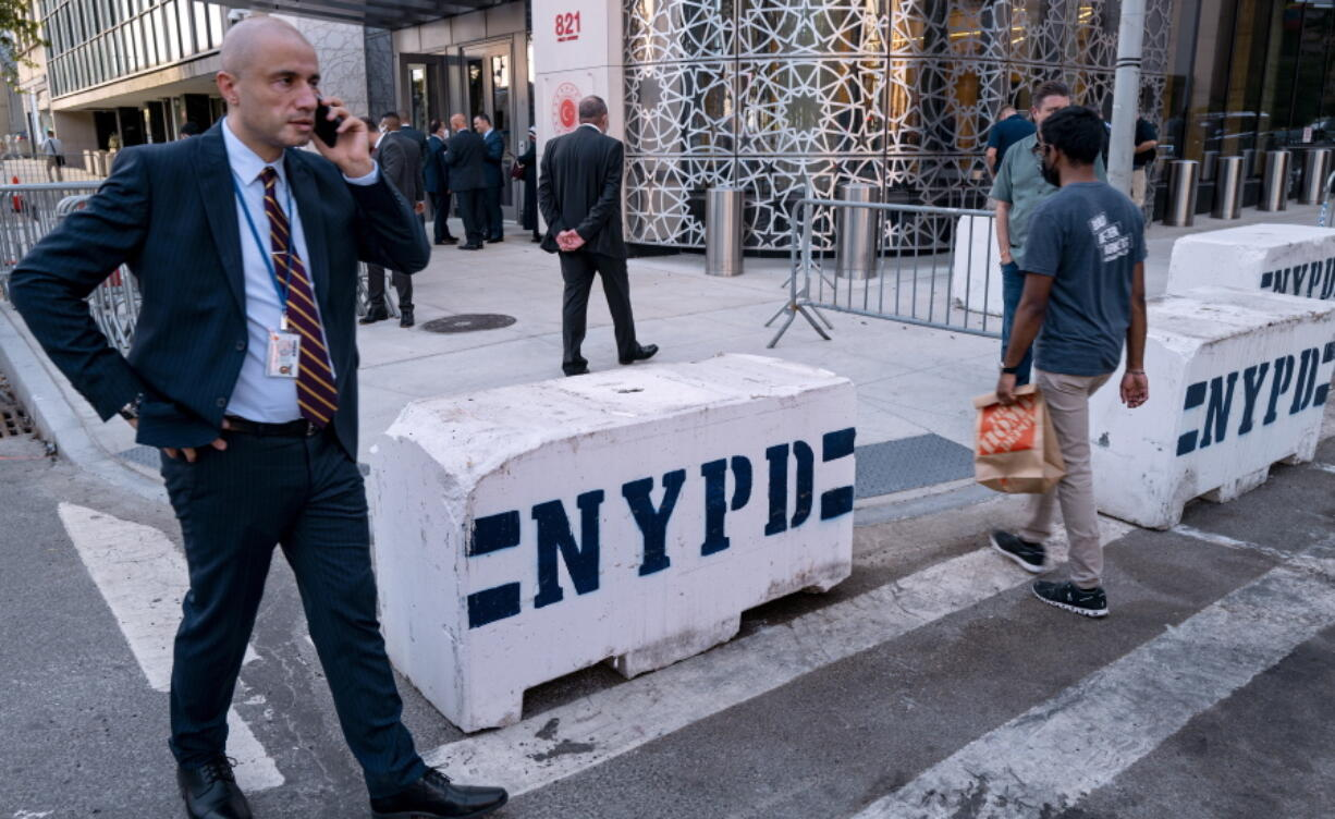 Police barricades rest in front of the Permanent Mission of Turkey across 1st Avenue from the United Nations headquarters Sunday, Sept. 19, 2021, in New York. The 76th Session of the U.N. General Assembly begins this week.