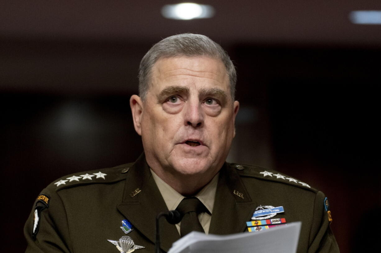 FILE - In this June 10, 2021, file photo Chairman of the Joint Chiefs of Staff Gen. Mark Milley speaks at a Senate Armed Services budget hearing on Capitol Hill in Washington.