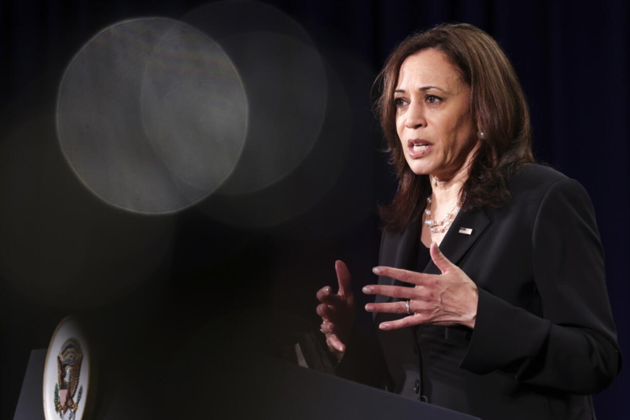 U.S. Vice President Kamala Harris holds a news conference before departing Vietnam for the United States following her first official visit to Asia, in Hanoi, Vietnam, August 26, 2021.