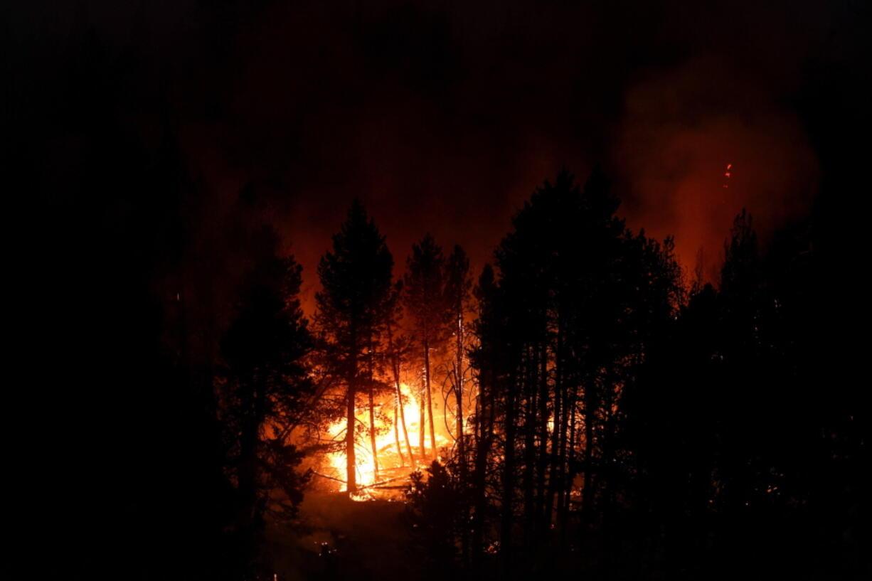 The Caldor Fire consumes trees Sept. 3 in Eldorado National Forest, Calif. (jae c.