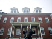 Historian and author Jeff Davis tells a story about spending the night in the haunted Post Hospital in Fort Vancouver during the Spirit Tales Walking Tour in 2016.