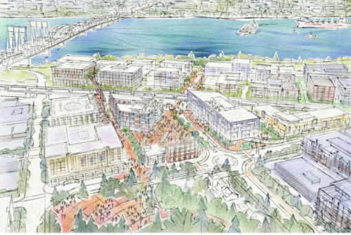 Conceptual renderings, which could change, of the Waterfront Gateway area next to City Hall show multifamily housing, a multistory parking garage and a skybridge over the railroad to Vancouver waterfront.