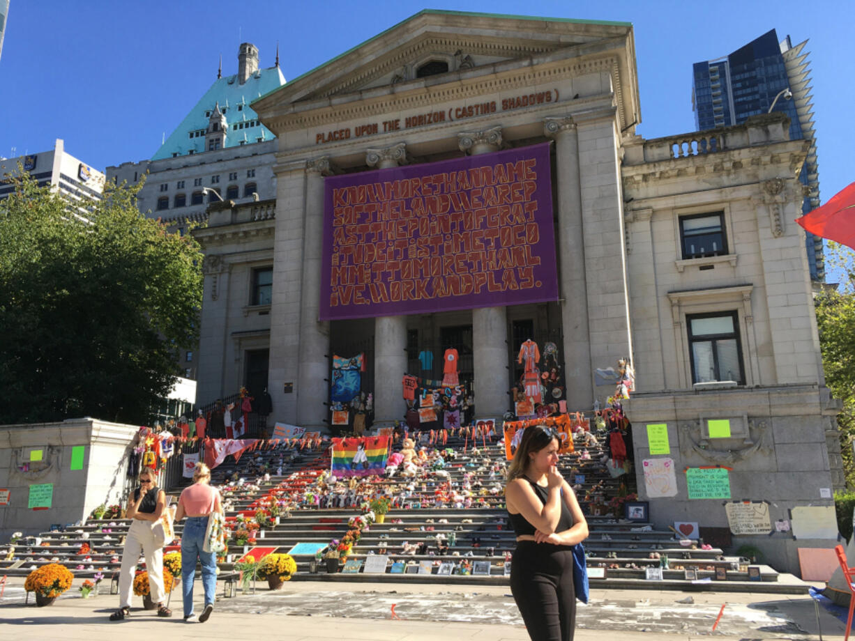 Shoe vigil in Robson Square, Vancouver, B.C.