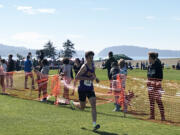 Columbia River's Daniel Barna places fourth in the top division varsity race at the Curtis Invitational on Saturday, Oct. 2, 2021, at University Place. He was the top Washington finisher behind three Jesuit (Ore.) runners. His time was 15 minutes, 43 seconds on the 5,000-meter course near Chambers Bay Golf Course.