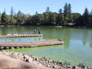 """People stand on a Lacamas Lake pier on Sept. 25. The county placed """"danger"""" advisories around the Camas lake earlier this year after finding high concentrations of toxic blue-green algae."""
