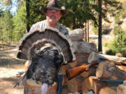Buzz Ramsey took this young tom turkey in the Klickitat River Canyon on the first day of the fall hunt. Note the bright bands in the tail that are a mark of the Merriam's subspecies of wild turkey.