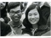 Tim Tran and his wife-to-be, Thuy (now Cathy), enjoy a typical, informal American pleasure at Pacific University in 1971: watching a pie-eating contest.