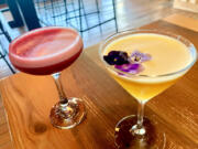 Saap's His & Hers with pisco, yazu liqueur and raspberry syrup; Dolce Passione with vodka, Cava, passionfruit, and vanilla.