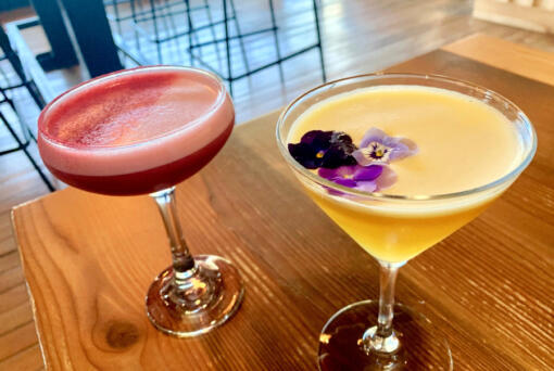 Saap's His & Hers with pisco, yazu liqueur and raspberry syrup; Dolce Passione with vodka, Cava, passionfruit, and vanilla. (Rachel Pinsky)