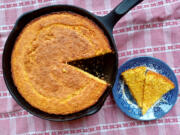 This cornbread turned out a shade darker than I'd have liked, and about twice as salty, but everything's better with a little -- or a lot -- of honey.