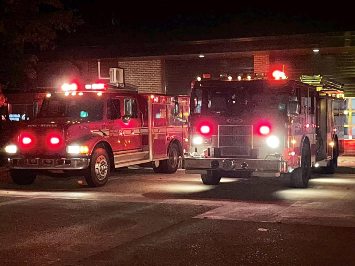 """Clark County Fire District 6 joined fire agencies across the country Oct. 1 in lighting up the sky with red strobe lights to honor fallen firefighters, as part of the annual """"Light the Night"""" campaign."""