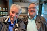 Columbian editor emeritus Lou Brancaccio, left, and Editor Craig Brown pose for a selfie at a Vancouver coffee shop.