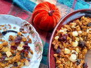Bake the pumpkin granola without fruit or nuts and mix them in after baking for the best flavor.