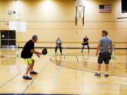 Community Education registrants test out Ridgefield's new indoor pickleball court.