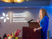 Jennifer Rhoads, president of the Community Foundation for Southwest Washington, speaks during an event. She has announced she will be stepping down from her position.
