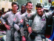 """From left, Harold Ramis, Ernie Hudson, Bill Murray and Dan Aykroyd in the film, """"Ghostbusters."""" (Columbia Pictures)"""
