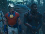 "From left: David Dastmalchian, John Cena, King Shark (voiced by Sylvester Stallone), Idris Elba and Daniela Melchior star in ""The Suicide Squad."" (Warner Bros."