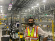 Jairaj Vora is a manager at Amazon's giant facility in Stanton, near Wilmington, Delaware, seen on Sept. 21, 2021. (Joseph N.