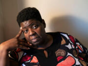 """Tamara Blue, 47, of Detroit and a certified nursing assistant, talks about losing a resident in June that she had grown fond of: """"we were lucky to have each other,"""" Blue said on Sept. 17, 2021."""