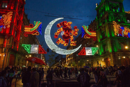View of the illuminated decorations, as part of the commemoration of the 500th anniversary of the resistance of Mexico-Tenochtitlan to the Spaniards in Zocalo Square Mexico City on Aug. 12, 2021.