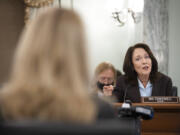 Sen. Maria Cantwell, D-Wash., questions former Facebook employee and whistleblower Frances Haugen during a Senate Committee on Commerce, Science, and Transportation hearing on Capitol Hill on Tuesday, Oct. 5, 2021, in Washington.