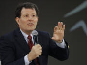 FILE - In this Sept. 20, 2017, file photo, Nicholas Kristof speaks during the Goalkeepers Conference in New York. The former New York Times reporter and columnist announced Wednesday, Oct. 27, 2021 he is running for governor of Oregon, the state where he grew up on a rural farm.