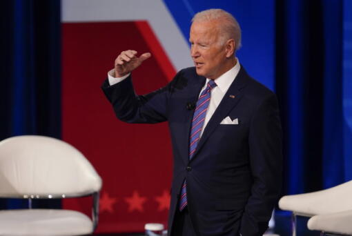 President Joe Biden participates in a CNN town hall at the Baltimore Center Stage Pearlstone Theater, Thursday, Oct. 21, 2021, in Baltimore.
