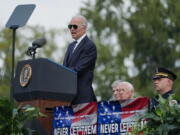 President Joe Biden speaks during a ceremony, honoring fallen law enforcement officers at the 40th annual National Peace Officers' Memorial Service at the U.S. Capitol in Washington, Saturday, Oct. 16, 2021.