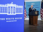 President Joe Biden delivers an update on the COVID-19 response and vaccination program, in the South Court Auditorium on the White House campus, Thursday, Oct. 14, 2021, in Washington.