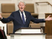 """FILE - In this Jan. 27, 2021, file photo, former President Bill Clinton speaks during funeral services for Henry """"Hank"""" Aaron, at Friendship Baptist Church in Atlanta. (Kevin D."""